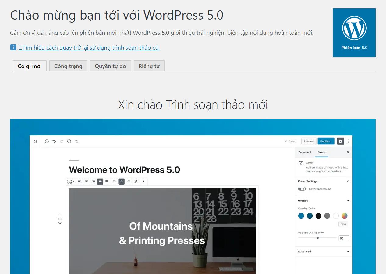 Giao diện chào mừng nâng cấp lên bản WordPress 5.0